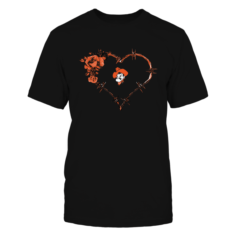Oklahoma State Cowboys - Bared Wire Heart Rose Front picture