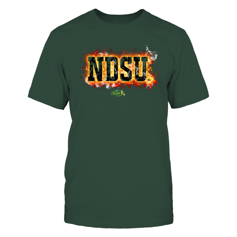 North Dakota State Bison - Fire text Front picture